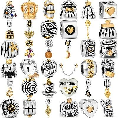 Fashion gold 925 silver charms bead For Sterling PAN Bracelet Bangle Necklace UK