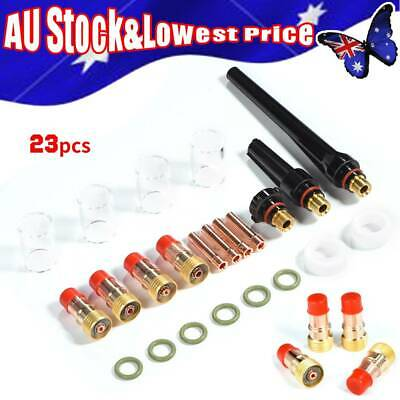 23pcs TIG Welding Torch Glass Cup Gas Lens Collet Kit for WP-17/18/26 Series New