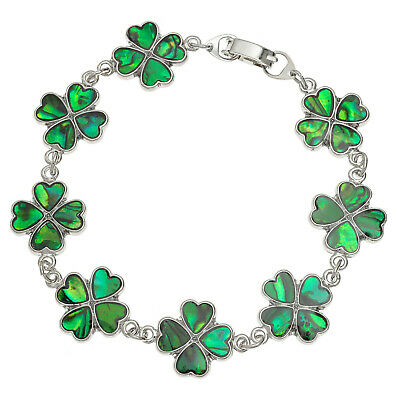 Four Leaf Clover Abalone Shell Bracelet Womens Silver Fashion Jewellery 7.5""