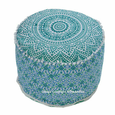 Indian Cotton Ombre Mandala Ottoman Pouf Cover Round Ethnic Footstool Pouffe Art