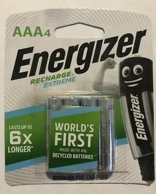 AAA Energizer Rechargeable (4 Pack Batteries) 1.2V 800mAh Brand New & Sealed