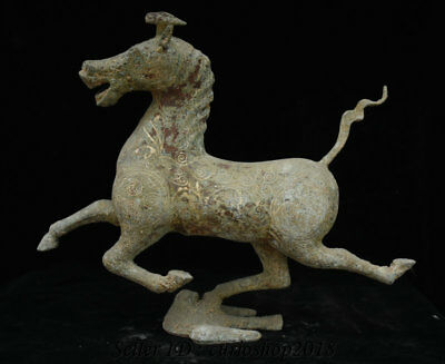 "16.8"" Old Chinese Bronze Ware Dynasty Horse Stepping on Flying Swallow Statue"