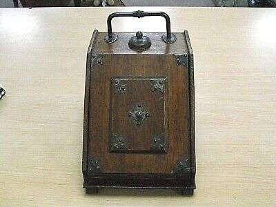 Lovely Antique Arts & Crafts Oak Writing / Stationery Box - Coal Scuttle Design