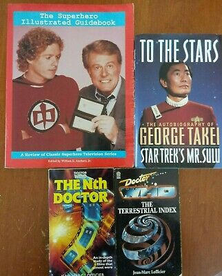 super hero book lot Guide Hard Cover Star Trek Doctor Who superman the flash 4 !