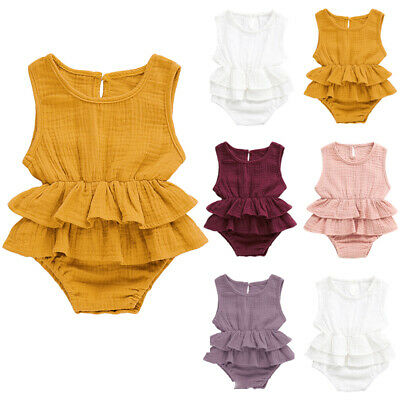 Newborn Baby Roomper Jumpsuit Solid Sleeveless Infant Playsuit Summer Outfit NEW