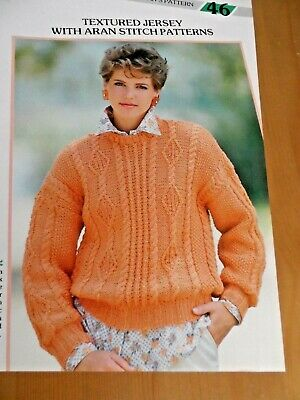 "#112 Ladies Lacy DK Textured Sweater Vintage Knitting Pattern 32-38/"" 81-97cm"