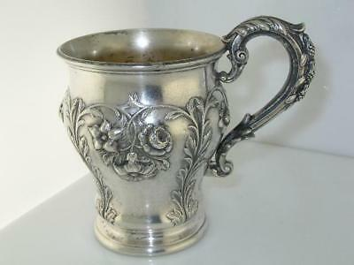 Fabulous Sterling Cup / Mug floral leaf & vine patterns Hamburg Germany 1800s