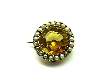 Antique Victorian 9ct Gold Citrine & Seed Pearl Brooch Pin c1850. F167F.