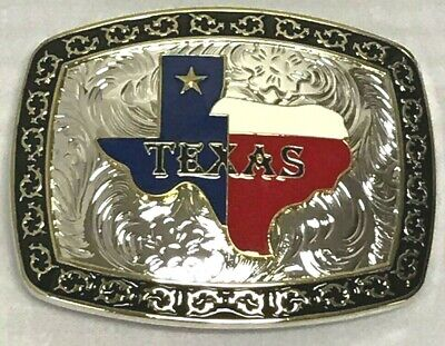 Texas State Belt Buckle Map Flag Western Cowboy Rodeo Heavy Fashion Star Color