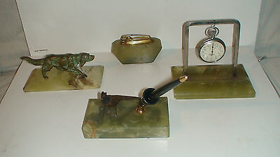 "Antique Cold Painted Vienna Bergman Bronze - Onyx 4 Piece ""Hunter""  Desk Set"