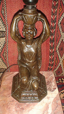 Vintage Art Deco Kneeling Egyptian Revival  Woman Water Bearer Lamp Bronzed