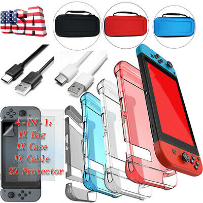 Accessories Case Bag+Shell Cover+Charging Cable+Protector For Nintendo Switch e9