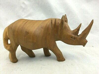 Vintage Hand Carved Wood Horned Rhino Figure Sculpture African Folk Art Kenya