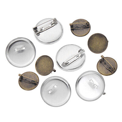 50Pcs Cabochon Brooch Base Setting Metal Blank Round Pin Tray DIY Jewelry Making