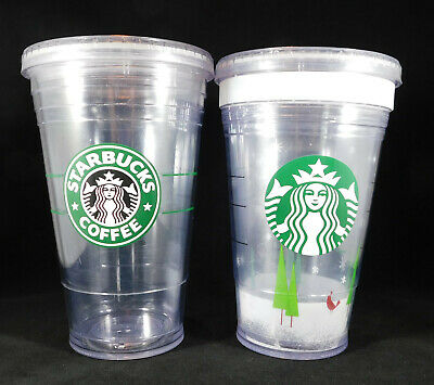 8def5c6bd01 2 Starbucks Grande Clear Double Wall Cold Iced Cup Tumbler 16 oz Holiday  Mermaid