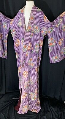 Original Vintage Large Kimono Silk Purple And Flowers Japanese Robe
