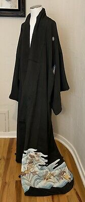 Original Vintage Large Kimono Silk Black With Gold & Blue Accent Japanese Robe