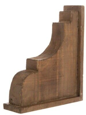 LARGE RUSTIC CORBELS / BRACKETS Distressed Brown Wood Wavy Corbels Set Of 2