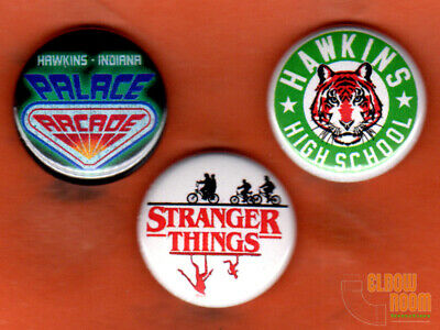 """Set of three 1"""" Stranger Things pins/buttons Hawkins High School Palace Arcade"""