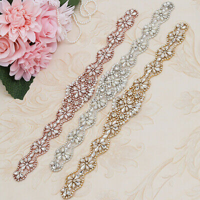 With Bead Rhinestone Appliques Graceful Belt Accessories Handmade Bridal Sashes