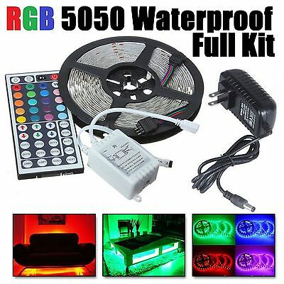 LED Strip Light 5050SMD RGB 5M 300 Waterproof 12V IR Controller W/ Power Adaptor