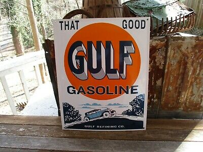 """That Good """"Gulf"""" Gasoline Gulf Refining Company-Porcelain Sign-Exc.condition"""