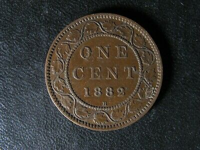 1 cent 1882H Obv. 2 Canada one penny copper coin large Queen Victoria c ¢ VF-20