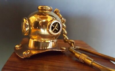 Vintage Brass/Copper Diving Helmet Key Chain With Wooden Box