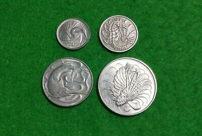 Singapore older series of 4 coins Snake Bird, Seahorse, Swordfish, Lion Fish