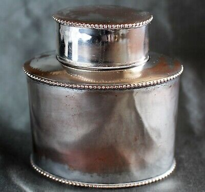 English Old Sheffield Silver Plate Cold Fusion Lidded Tea Caddy c. 1800