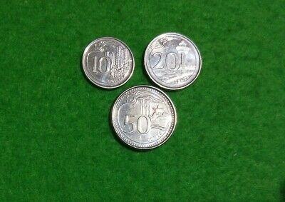 Singapore newer series 3 coins 10, 20, 50 Cents dated 2013-2014