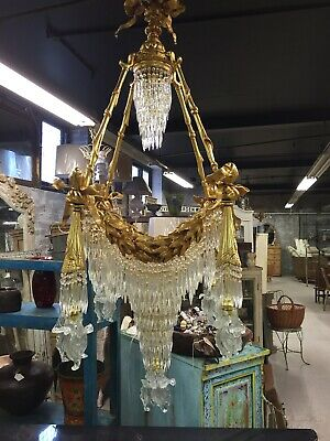 Antique, French Chandelier, Vintage, Bronze Chandelier, 1920's, Glass, Crystal,