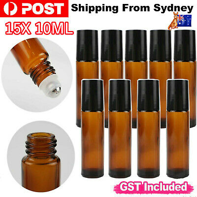 15 10ml Roller Bottles Amber THICK Glass Steel Roll on Ball For Essential Oils