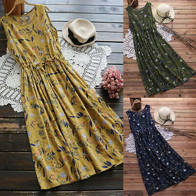 Vintage Womens Sleeveless Boho Floral Printed Baggy Casual Long Maxi Dress