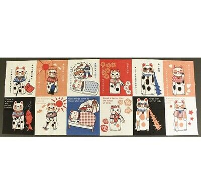 TENUGUI Japanese Cotton Fabric Hand Towel MADE IN JAPAN 90X35cm Lucky Cat Saying