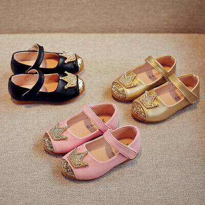 Child Toddler Kids Baby Girl Crystal Crown Bling Single Princess Shoes Sandals T