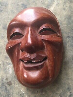 Asian Hand carved Mask Signed