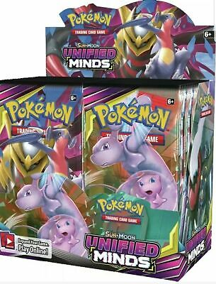 Pokemon UNIFIED MINDS Sun & Moon Booster Box Factory Sealed 36 packs