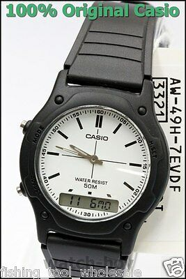 AW-49H-7E White Casio Plactic Watch Dual Time Stopwatch Analog Digital Brand-New