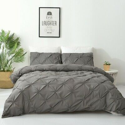 Single/Double/Queen/King Diamond Embroidery Pintuck Quilt/Duvet Cover Set-Stone