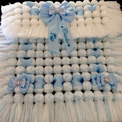 Luxurious Thick Pom Pom Blanket In Blue & White Mix Personalised