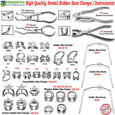 Endodontic Rubber Dam Clamps Dentists Brinker,Wingless,Ivory,Ainsworth Forceps