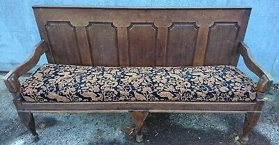 Antique Victorian Oak Settle Bench Seat with Upholstered Seat - 192cm Long