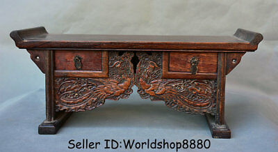 "18.8"" Old China Huanghuali Wood Dynasty Palace Phoenix Birds 3 Drawer Table Desk"