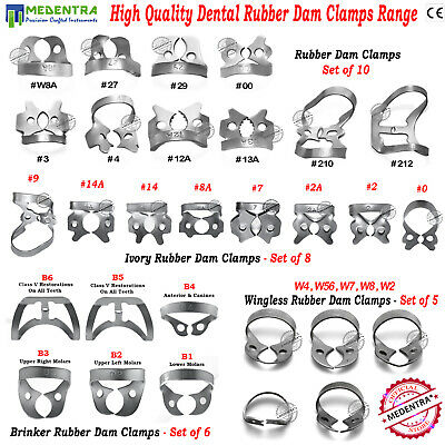 Complete Rubber Dam Clamps Range for Dentists Ivory Brinker Universal Wingless