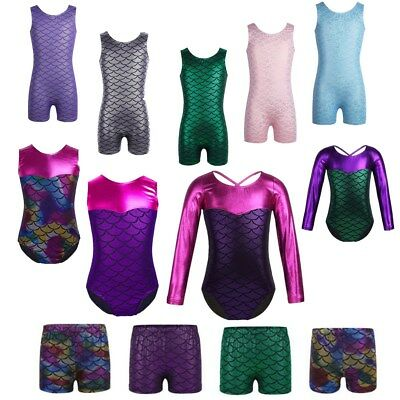 Girls Mermaid Leotards Gymnastics Dancewear Ballet Sport Activewear Dance Shorts