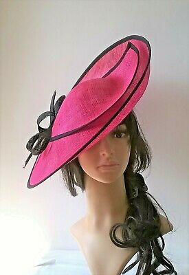 Fuchsia & Black Sinamay  Hatinator .Large saucer disc Wedding.races..Kay