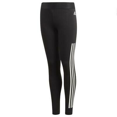 adidas Childrens 3 Stripe Black White Kids Gym Sports Girls Leggings 14-15 Years