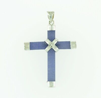 Sterling Silver Gold Plated Green Jade Cross Pendant