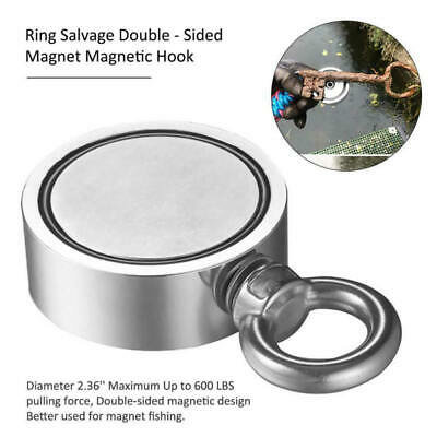 Round Super Strong Neodymium Fishing Magnet Pulling Double Sided